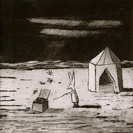 Rabbit with Box, etching