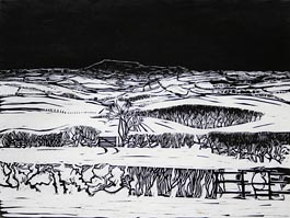 Corndon, Late Afternoon, linocut