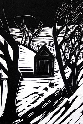 Winter House, linocut