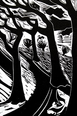 Winter Path, linocut