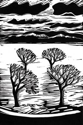 Winter Trees, linocut