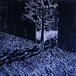 Blue Tree, woodcut