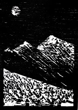 Winter Mountain, woodcut